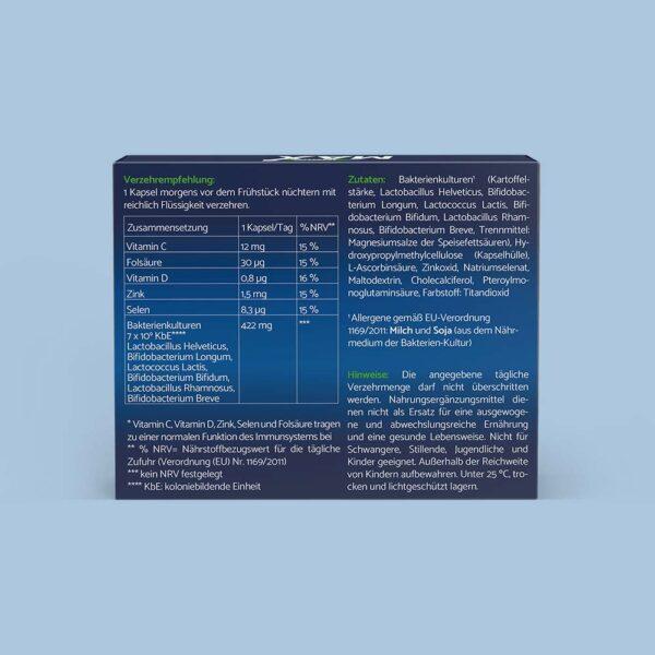 Die Rückseite einer ImmunMax 30 Packung