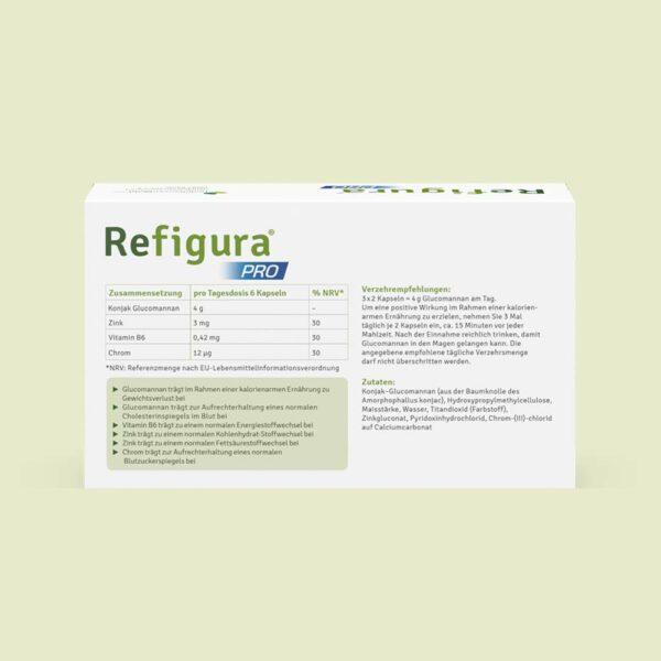 Rückseite einer Packung Refigura Pro 60